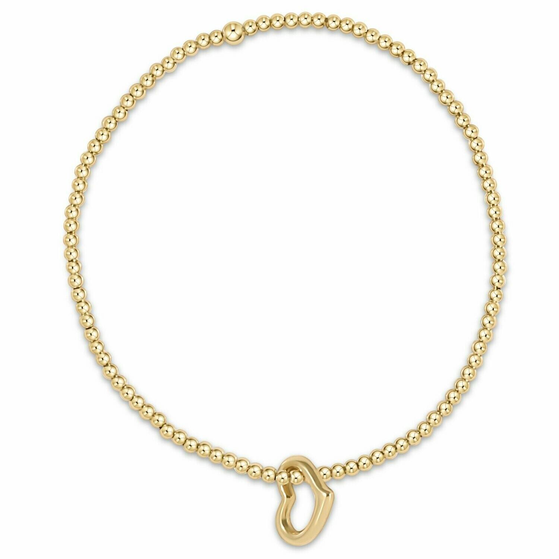 Classic Gold 2mm Bead Bracelet Love Charm