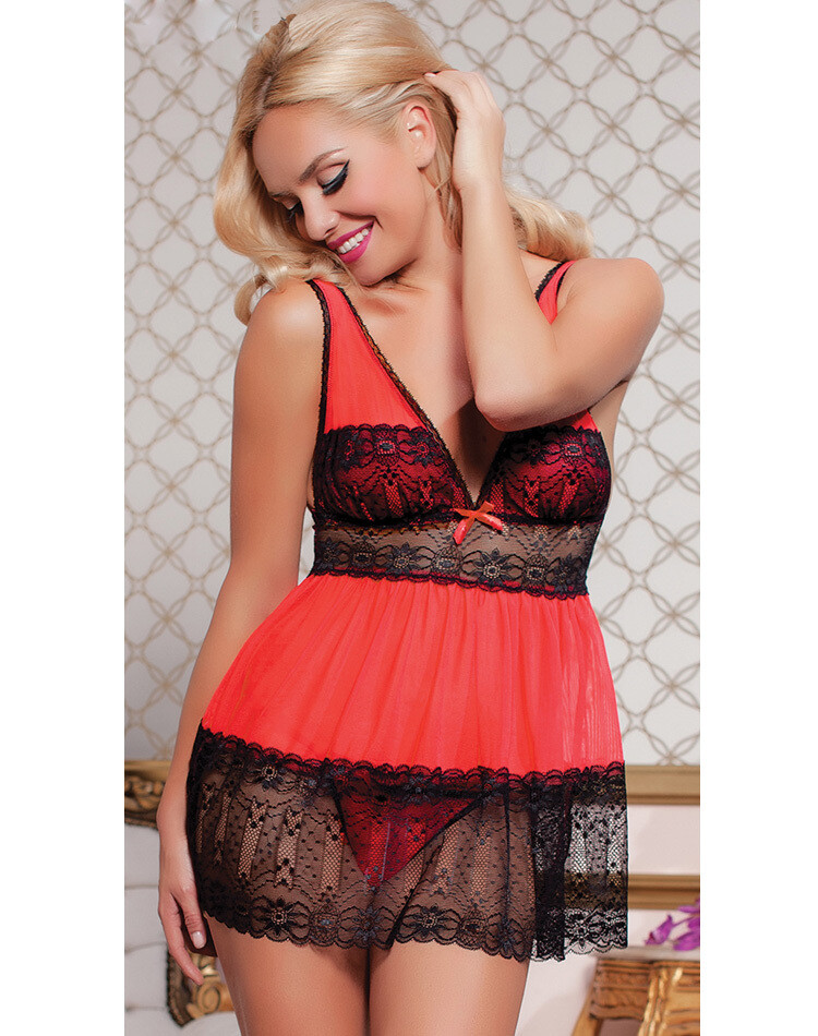 Mesh and Lace Cheeky Babydoll Red S,L