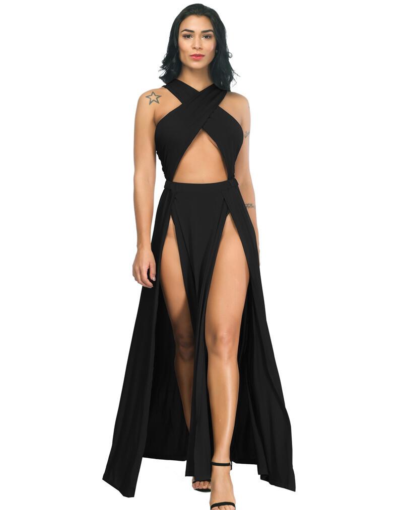 High Slits Wrap Criss Cross Gown Black Medium