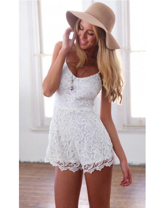 White Lace Jumpsuit Romper Medium