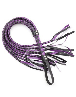 Braided Leather Whip Purple