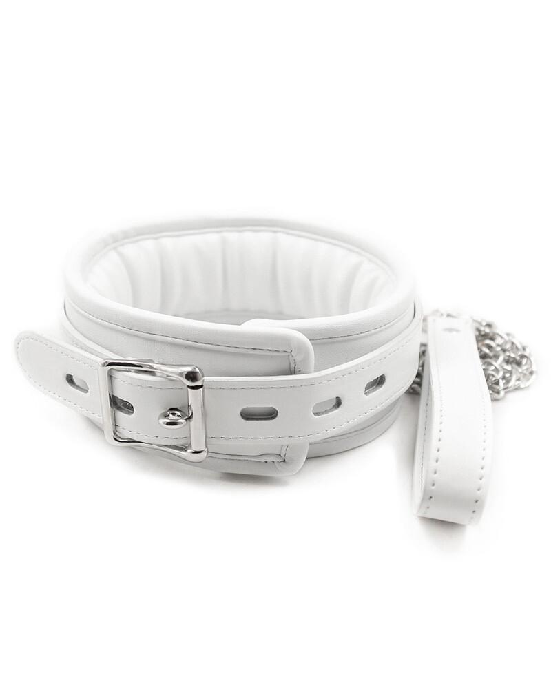 White PU Leather Collar And Leash Set