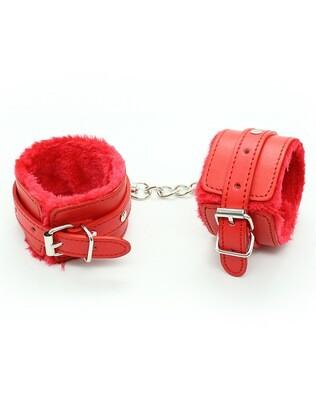 Fuzzy Wrist Cuffs Red