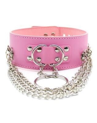 PU Leather Punk Locking Choker Collar Pink