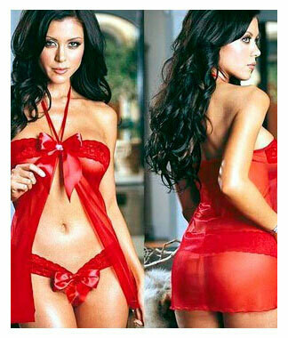 Bow Top-Open Front Babydoll Red S/M