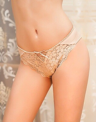 Lace Front Panty With Criss Cross Nude XL