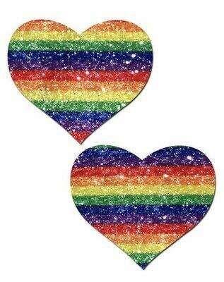 Pasties Glitter Rainbow Hearts