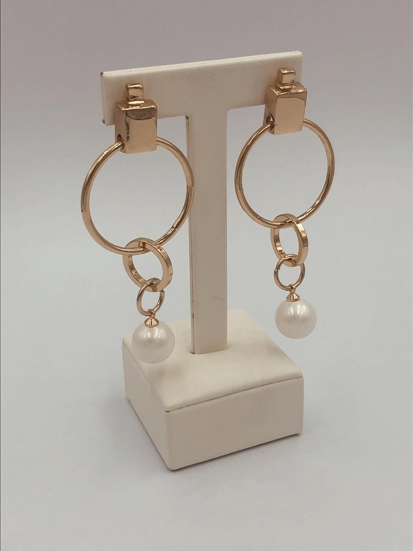 Oorbellen goud/parel 230405