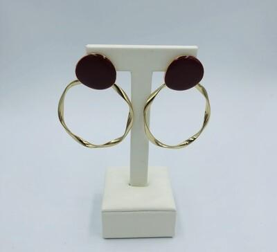 Oorbellen bordeau/goud 166095