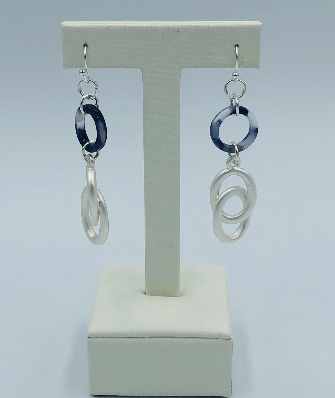 Oorbellen zilver/donkerblauw 166095