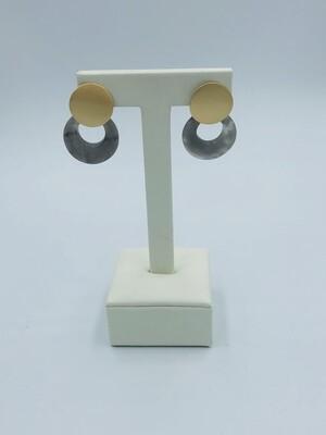 Oorbellen mini ring goud/grijs 174177