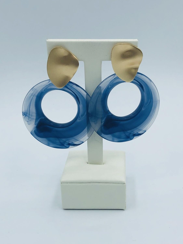 Oorbellen goud/blauw 174167