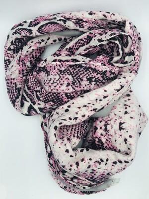 Sjaal roze slangenprint
