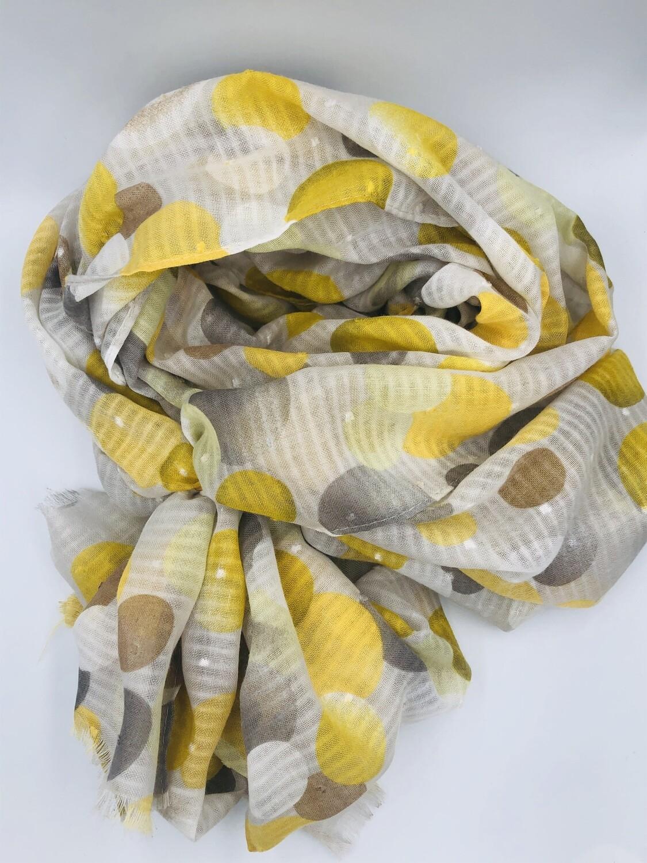Sjaal geel en grijze bollen