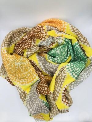 Sjaal geel/oranje/groen/beige/bruin