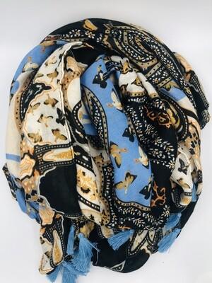 Sjaal blauw/zwart/beige