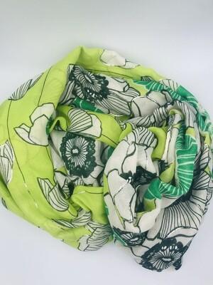 Sjaal groen bloemen