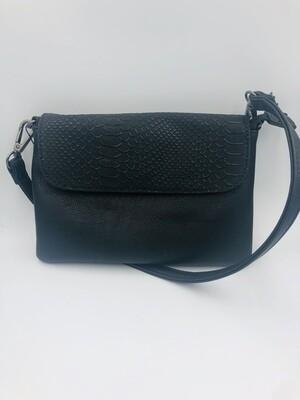 Handtas zwart met korte en lange riem