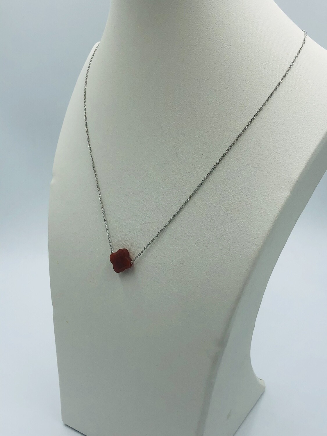 Ketting zilver rood