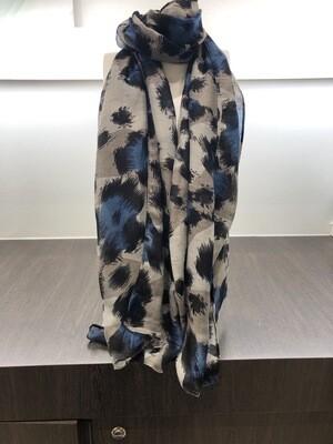 Sjaal Zwart/grijs/blauw