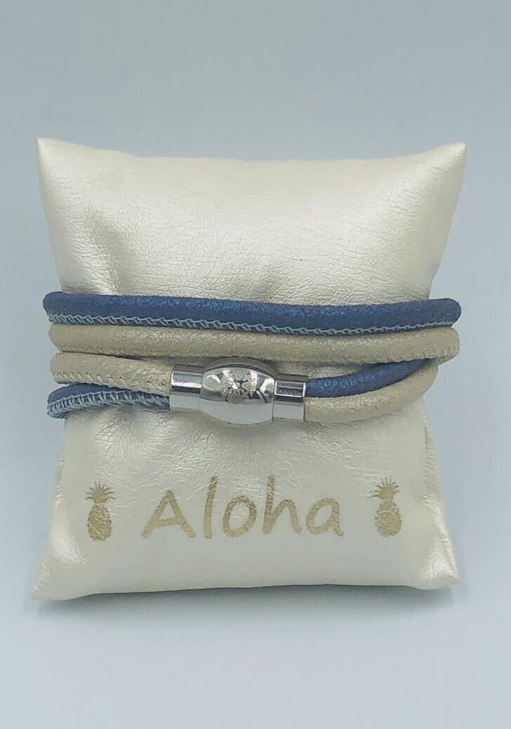 Armband Qudo beige/blauw leder
