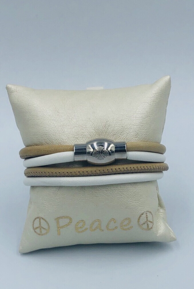 Armband Qudo wit met beige
