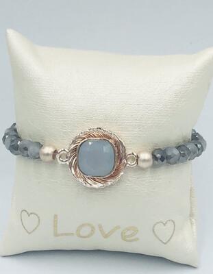 Armband grijs steen