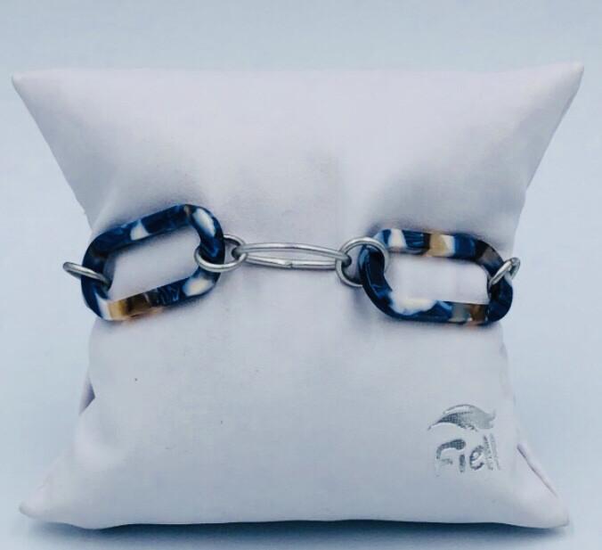 Armband Lizas Grote Blauwe Schakel Gevlamd