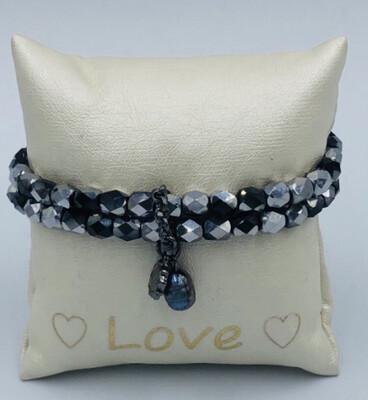 Armband Lizas Duo Zwart/grijs