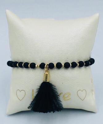 Armband Lizas Zwarte bolletjes met goud