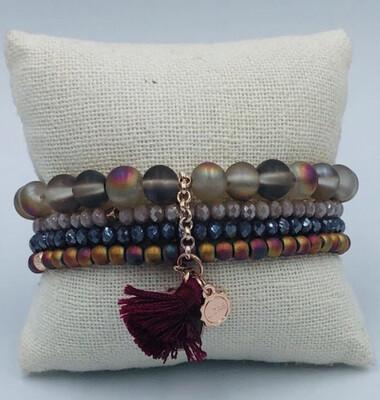 Armbanden Set Lizas Bordeaux/Grijze Tinten