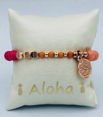 Armband Lizas oranje/fel roze
