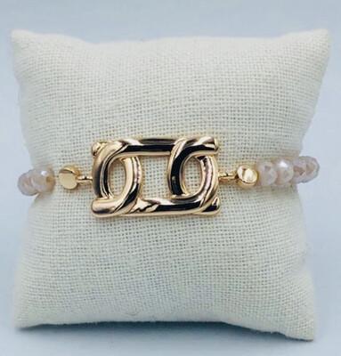 Armband Lizas wit met gouden medaillon