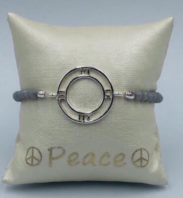Armband Lizas grijs met metalen cirkel