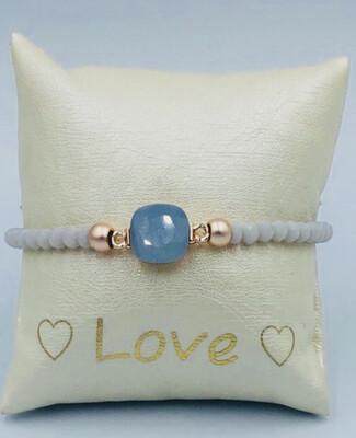 Armband Lizas wit/grijs medaillon
