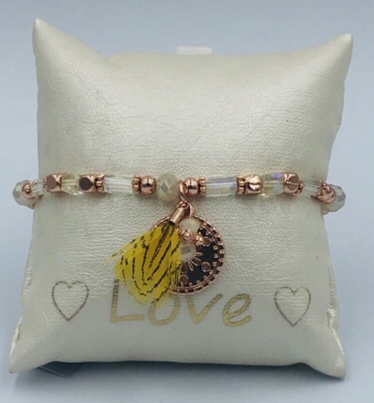 Armband Lizas Glas en geel veertje