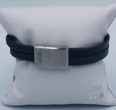 Armband Heren 20 Cm Leder zwart