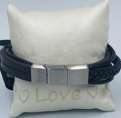 Armband Heren 22 Cm Leder bruin