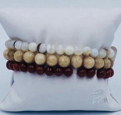 Armband Set Wit/beige/Bordeaux