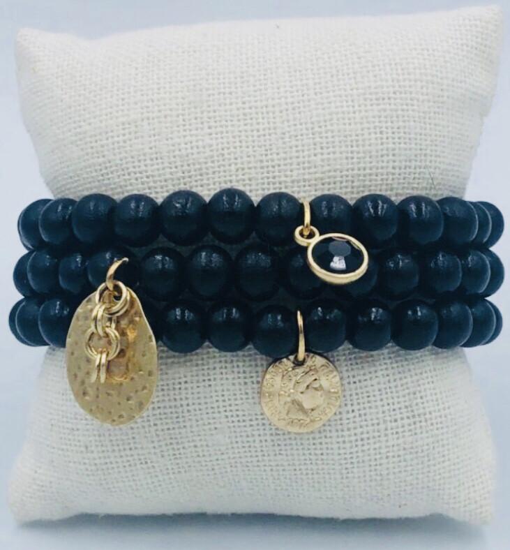 Armband Set Zwart Met Medaillon