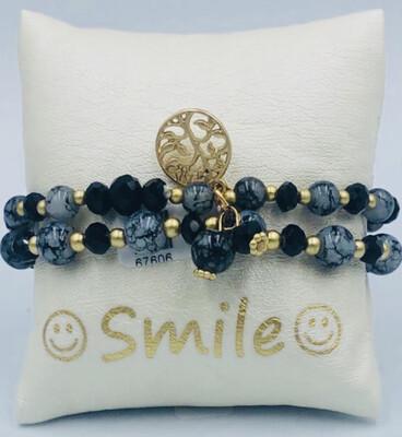 Armband Set Grijs/zwart