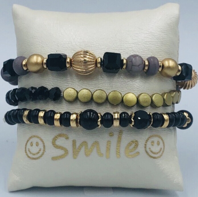 Armband Set Zwart/goud/grijs