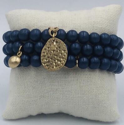 Armband Set Donkerblauw Mat