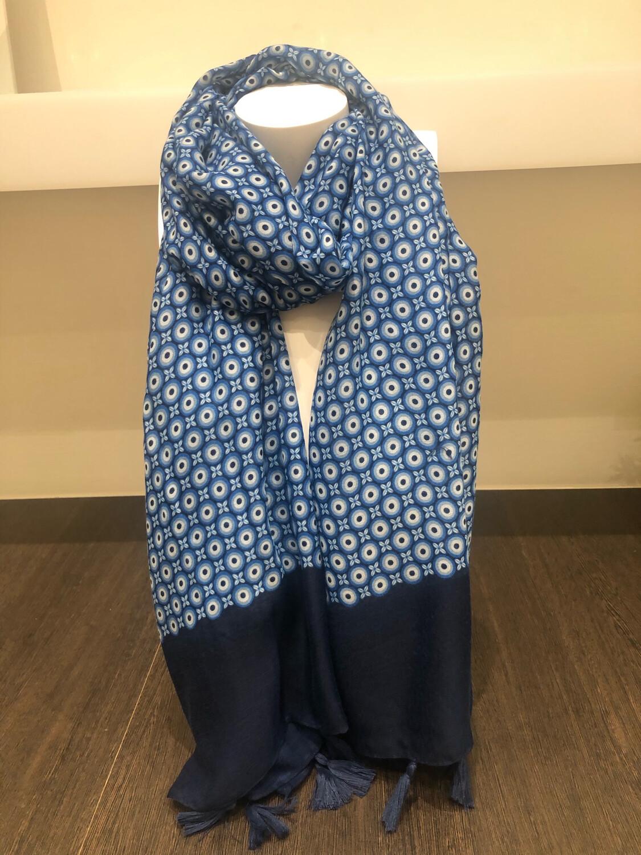 Sjaal: Donker Blauw Met Kobalt Blauw