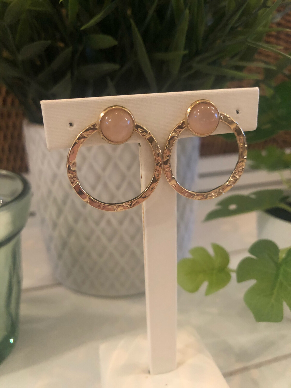 Oorbellen Ring Goud/roze