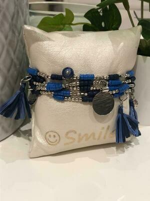 Armband Set Blauw/Zilver