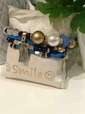 Armband Set Blauw/Wit/Goud