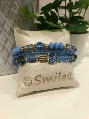 Armband Set Blauw Glas