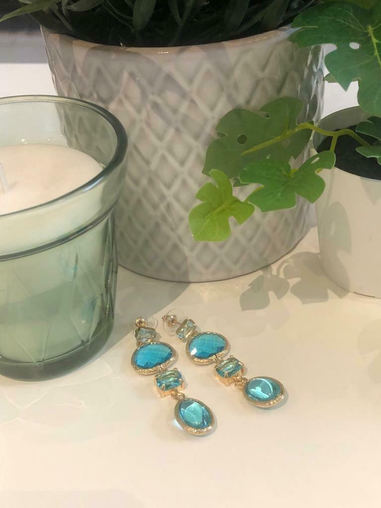 Oorbellen glas turquoise