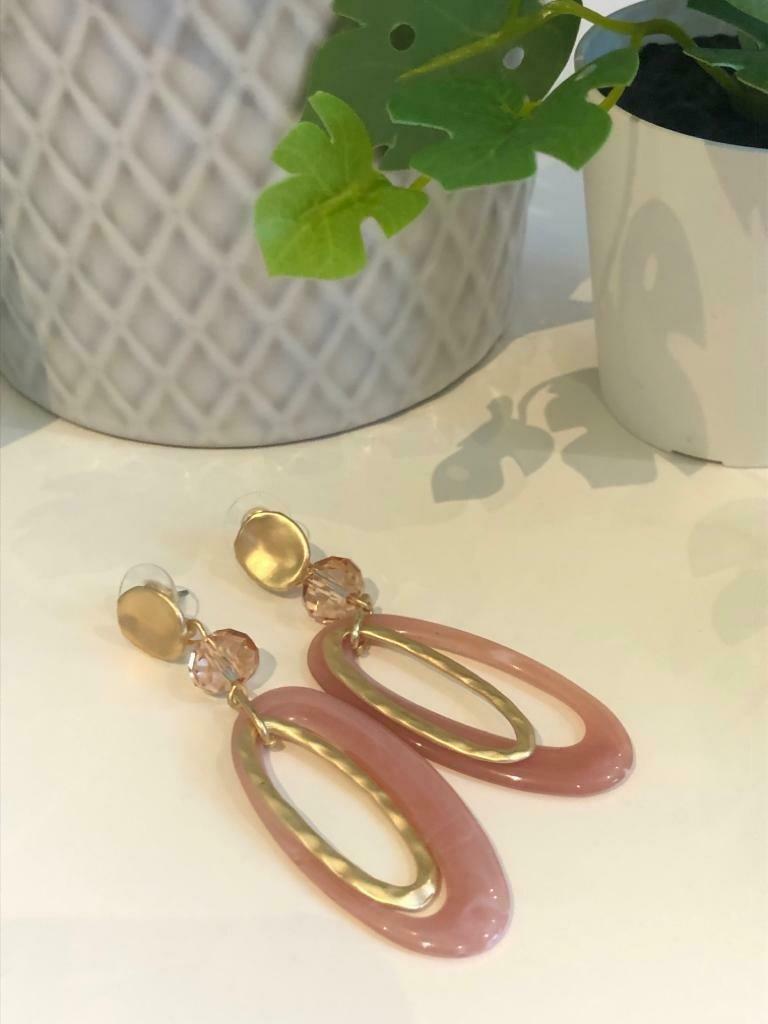 Oorbellen vieuw roze/gold